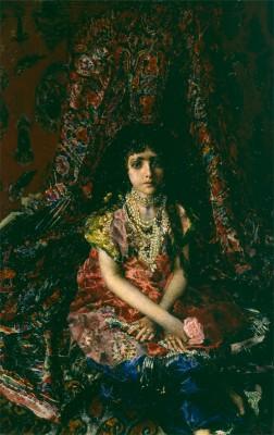 М.А. Врубель (1856-1910). Девочка на фоне персидского ковра.